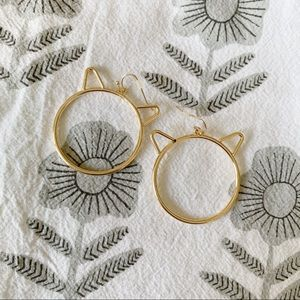 Jewelry - NWOT Gold Cat Hoop Earrings